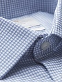 картинка Men's Formal Blue & White Small Check Fitted Slim Shirt от магазина  Fineshirt